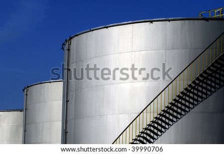 oil tank in a refinery - stock photo