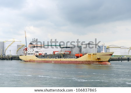 oil tanker and oil terminal in the harbor of rotterdam