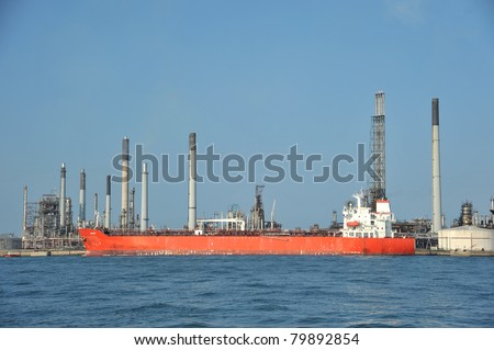Oil Tanker At  A Refinery