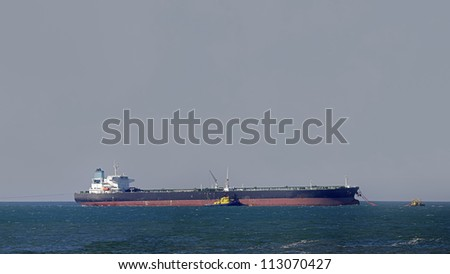 Oil tanker during unloading maneuvers off the Portuguese coast