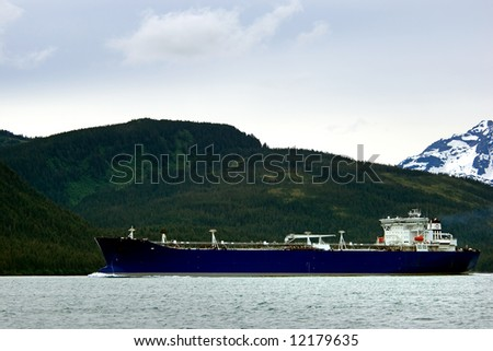 Oil tanker going to refinery near Valdez, Alaska