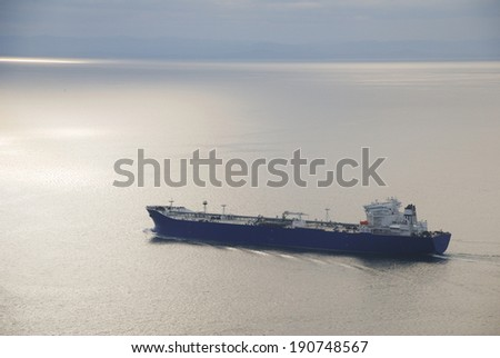 Oil Tanker heading out to sea in the Straight of Juan de Fuca