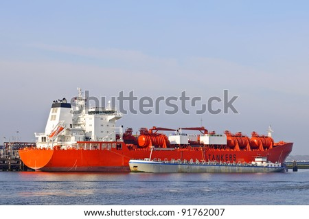 oil tanker in harbor of rotterdam netherlands
