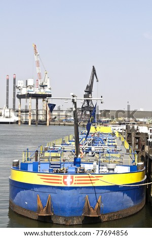 oil tanker in rotterdam harbor