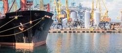 Oil tanker moored near an oil silo in Port of Odessa,  Ukraine