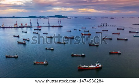 Oil tanker ship and LPG tanker ship, Aerial view tanker ship, oil and gas chemical tanker in open sea, Refinery Industry cargo ship terminal.