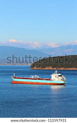 Oil tanker ship in Padilla Bay, Anacortes, Washington State with Mt Baker in the background.