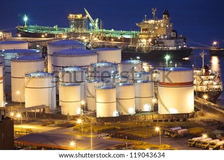 Oil tanks scene at night