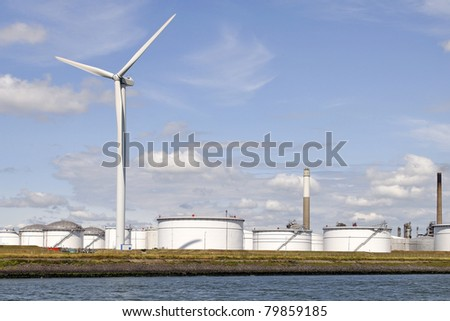 oil terminal with wind turbine for clean energy