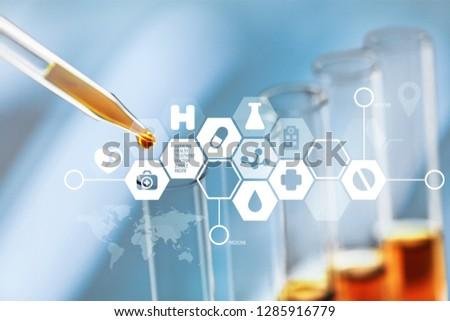 Oil test analysis beaker bio bio diesel biotechnology #1285916779