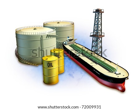 Oil themed composition showing an oil tanker, derrick, some barrels and storage tanks. Digital illustration, including a clipping path to separate objects from background.