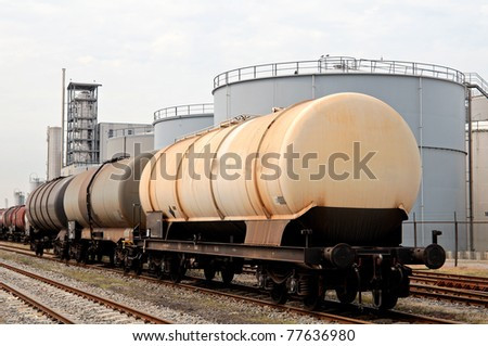 oil train and oil refinery