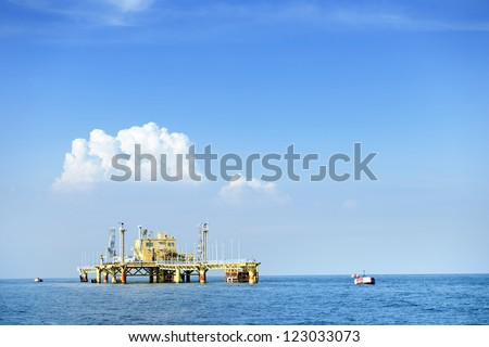 Oil transfer station on big sea