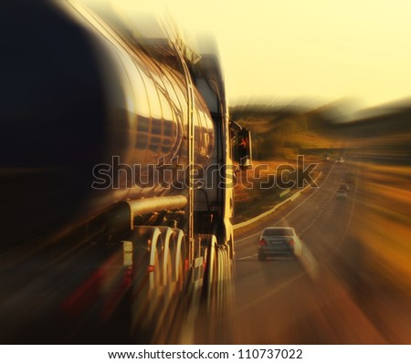 oil truck on a highway in motion