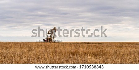 Oil Well Pump Jack pumping crude oil for fossil fuel energy. American Petroleum Oil and Gas Industry equipment extracting from a prairie in the United States of America. Stockfoto ©