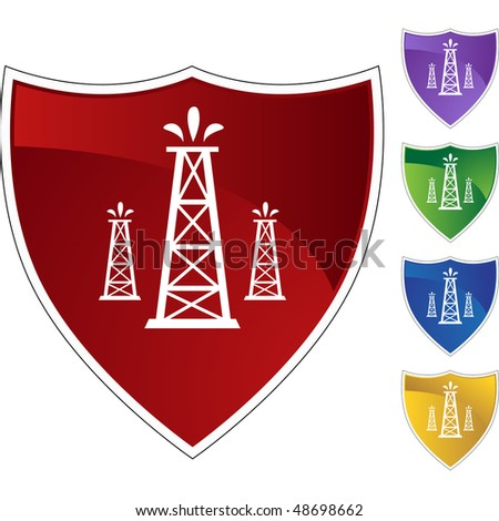 oil well icon. stock photo : Oil Well web button isolated on a background.