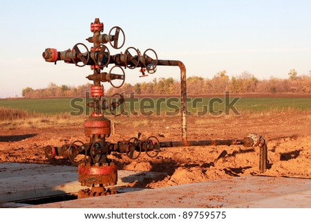 Oil Wellhead in the oil field