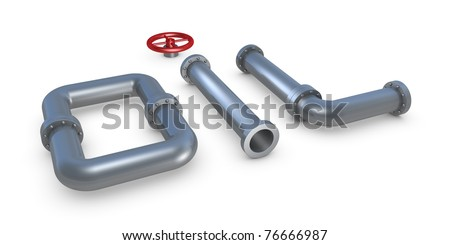OIL word made with pipes (3d render)