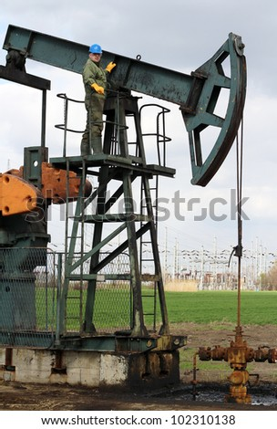 oil worker at an oil field