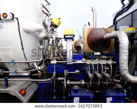 Oilfield industrial equipment. Refinery piping. Oil and gas energy industry pipes.