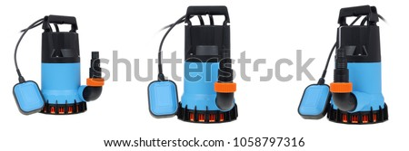 oilless submersible utility water pump isolated on white background - Shutterstock ID 1058797316
