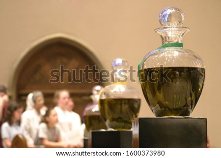 Oils on display at Chrism Mass before being blessed.
