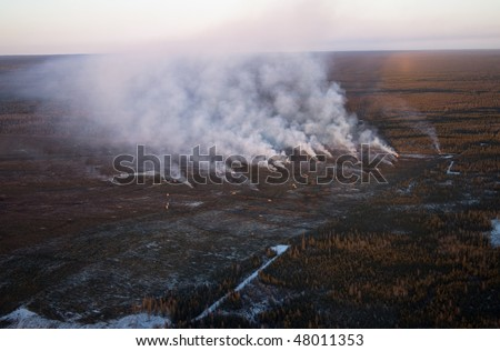 Oilsands development including slash and burn forest clearing in Northern Alberta
