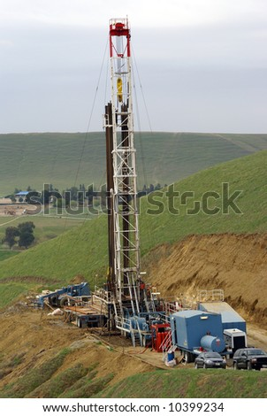 Oilwell servicing rig set up in the Sierra Nevada (California) foothills