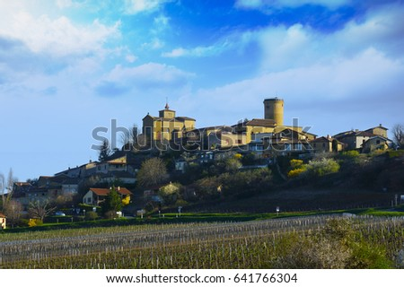 Oingt village in Beaujolais land during a sunny day