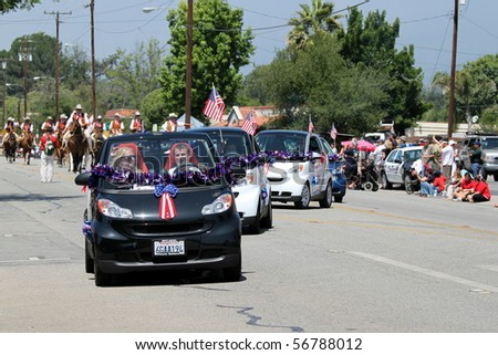 OJAI, CA - JULY 3 : Participants in the Annual 4th of July parade in Ojai one day early this year July 3, 2010 in Ojai, CA.