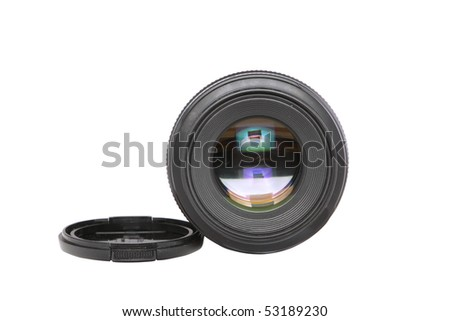 Ojective(Lens  glass)  isolated in white background. - stock photo
