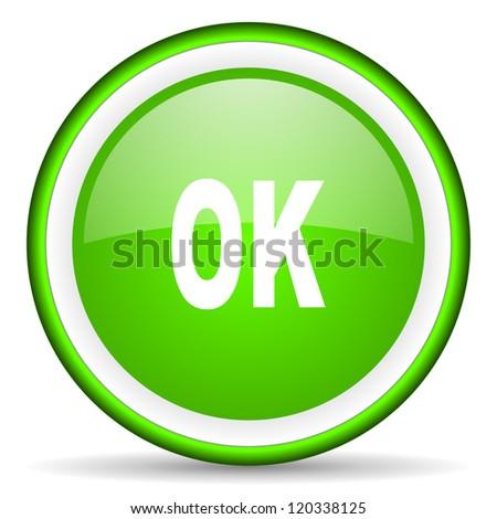 ok green glossy icon on white background