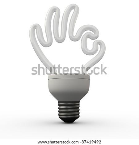 Ok hand energy saving fluorescent light bulb on white background