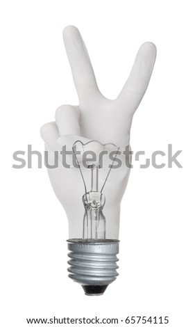 OK hand gesture lamp bulb isolated on white background