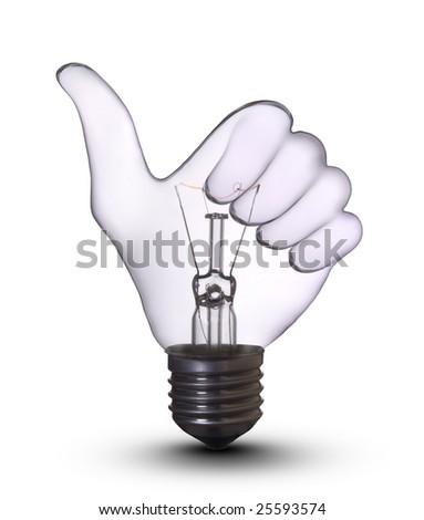 ok hand lamp bulb - stock photo