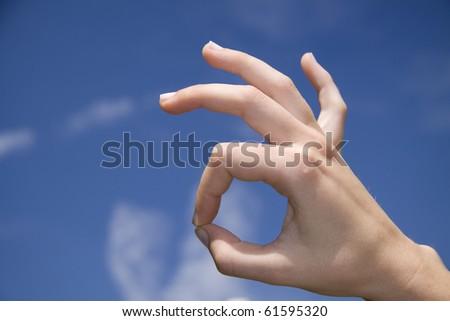 OK hand sign - stock photo