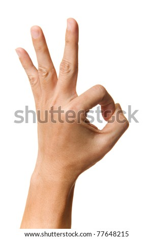 OK hand sign isolate on the white - stock photo