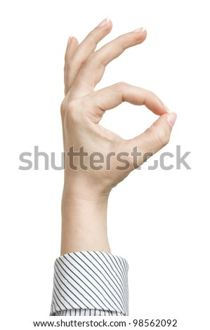 Ok! Hand sign isolated on white background