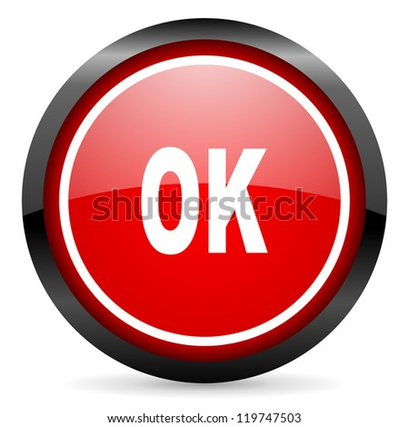 ok round red glossy icon on white background