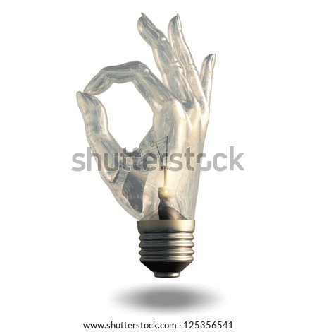 OK Symbol Light bulb isolated on white