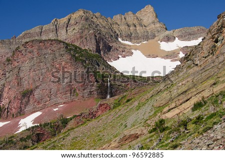 Okatomi ridge with snow in Glacier national Park