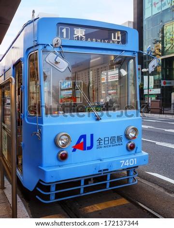 OKAYAMA, JAPAN - NOVEMBER 17: Okayama Street car in Okayama, Japan on November 17, 2013. Only cover a small area in central Okayama city. 1 day pass available for 400 Yen