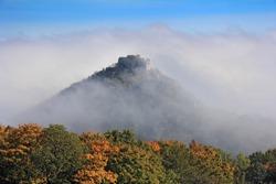 Okic castle ruin in the fog, located near the city of Samobor, Croatia.