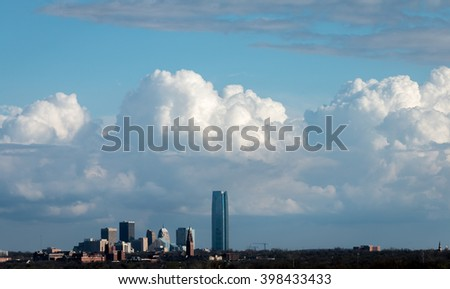 Oklahoma City, Oklahoma. Skyline with gathering storm clouds #398433433