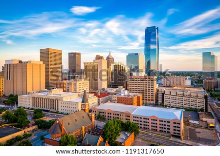 Oklahoma City, Oklahoma, USA downtown skyline in the late afternoon.