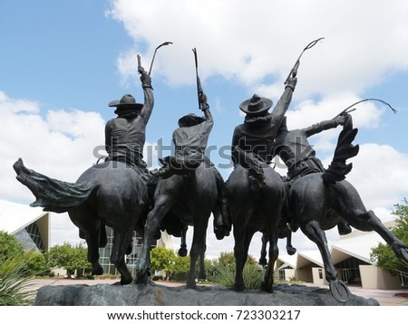 OKLAHOMA CITY, USA—SESPTEMBER 2015: Back view of the Statue of Coming Through the Rye designed by Frederick Remington at National Cowboy & Western Heritage Museum in Oklahoma City.