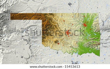 Oklahoma. Shaded relief map, with major urban areas and rivers, surrounding territory greyed out. Colored according to elevation. Clipping path for the state area included. Data source: NASA