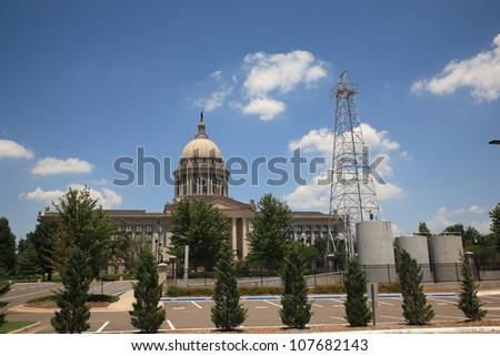 Oklahoma State Capitol Building - The state capitol building in Oklahoma City, with famous oil well on grounds..