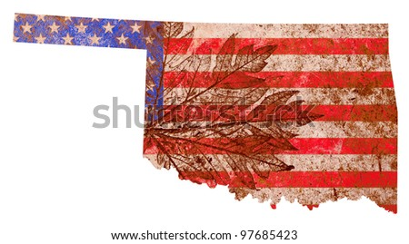 Oklahoma state of the United States of America in grunge flag pattern isolated on white background