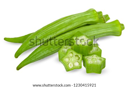 Okra isolated on white with clipping path.